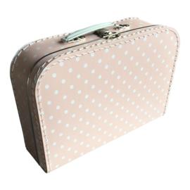 Koffertje babyroze/wit stip 30cm