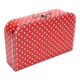 Koffertje rood wit stip 35cm