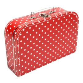 Koffertje rood wit stip 30cm