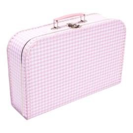 Koffertje roze wit ruit 35cm