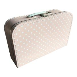 Koffertje babyroze/wit stip 35cm