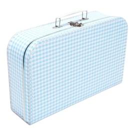Koffertje lichtblauw wit ruit 35cm