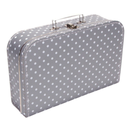 Koffertje zilver wit stip 35cm