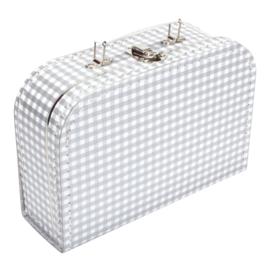 Koffertje zilver wit ruit 25cm