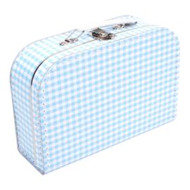 Koffertje lichtblauw wit ruit 25cm