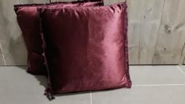 Kussen velvet roze/bordeaux