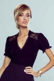 Eldar Kaja elegante damesblouse met kant op de schouders zwart