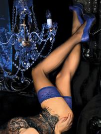 Studio Collants elegante hold-up kousen met naad zwart / blauw