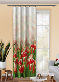 Tulpen Gordijn 150x250 cm -2 stukken- set, Geen plooiband- KORTING !!!