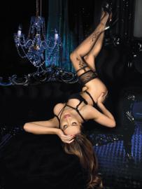 Studio Collants elegante hold-up kousen met bloemmotif zwart
