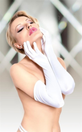SoftLine spannende satijnen lange handschoenen – wit