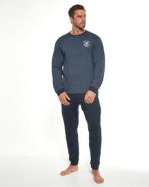 Cornette heren lange pyjama BASE CAMP- marineblauw -  100% katoen