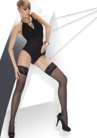 Annes Calze 20 elegante hold-up kousen met kanten rant - 20 den zwart