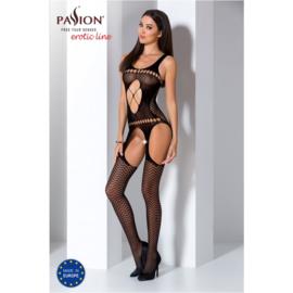 Passion  catsuit met open kruis zwart - BS057