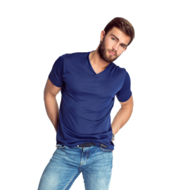 Mewa- T-shirt- Caro- vegan zijde- donkerblauw