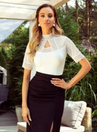 Eldar - Oriana  elegante blouse  met kant- wit