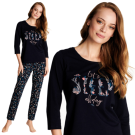 Henderson- Warmy- dames pyjama- marineblauw