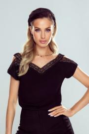 Eldar- Estella- mooie damesblouse-  korte mouw - zwart met kant