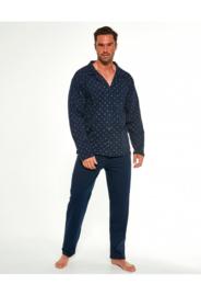 Cornette Katoenen lange pyjama met Knoopjes Heren Volwassenen -  marineblauw- 100% Katoen