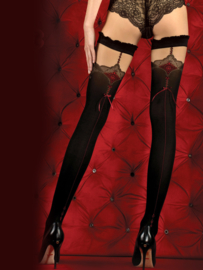 Studio Collants LUXE HOLD-UP KOUSEN MET NAAD EN KANT zwart/rood  -20/60 den
