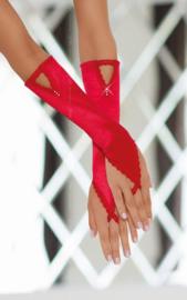 SoftLine spannende satijnen handschoenen met kanten afwerking en glimmende sieraden – Rood