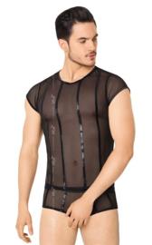 Wetlook heren -shirt en slip met netstof details- zwart