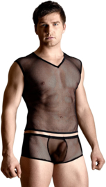 SoftLine Collection visnet heren set: shirt en slip zwart