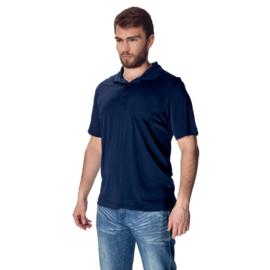 Mewa- Poloshirt vegan zijde- donkerblauw