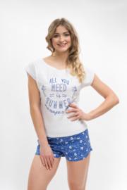 Martel Monika dames shortama 100% katoen  wit/blauw