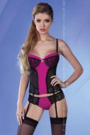 LivCo Corsetti Corset met jarretels en string- zwart/roze