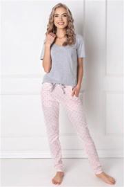Aurelle- Q- pyjama - grijs/  lichtroze