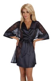 Beauty Night Stephanie - satijn kimono met kanten zijkant en mouwen -zwart