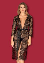 Obsessive- Lashy- Kanten lange kimono - zwart