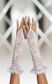 SoftLine elegante kanten lange handschoenen – Wit