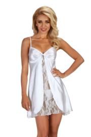 Beauty Night Alexandra satijn chemise met kant wit