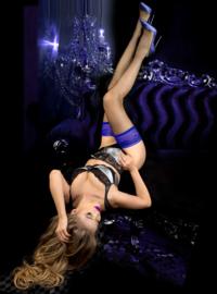 Studio Collants netkousen met blauwe kanten band blauw / zwart