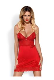 Obsessive - Lovica- mooie rode satijnen nachtjurkje met kant
