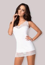 Obsessive- Miamor chemise met Split Zoom en Uitdagende Halslijn- wit