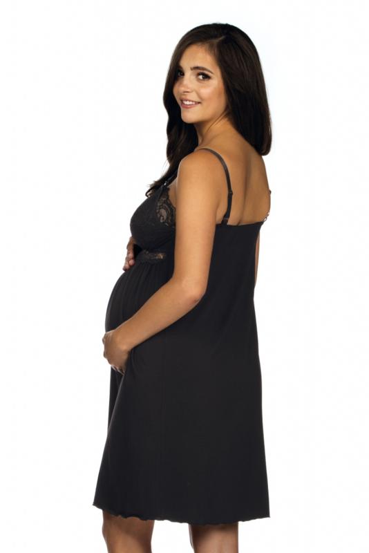 Lupoline zwangerschaps- en voedingsnachthemd met kant - zwart
