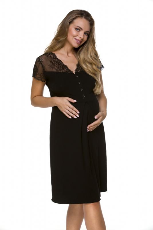 Lupoline zwangerschaps- en voedingsnachthemd met korte mouwen  - zwart