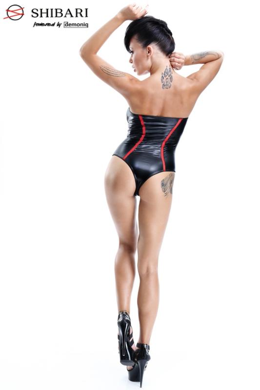 Demoniq Fumi strapless wetlook body met rits- zwart/rood