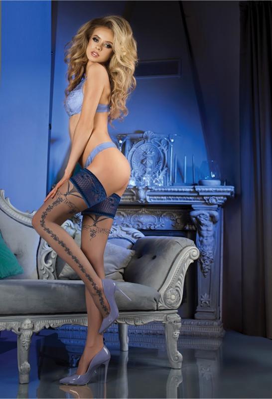 Studio Collants erotische hold-up kousen- blauw
