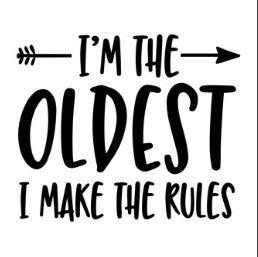 'I'm the oldest' Strijkapplicatie