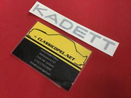 "Sticker ""Kadett"" voor de motorkap Opel Kadett C GT/E."