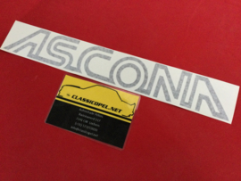 """Ascona"" sticker kleur zwart  t.b.v. motorkap Opel Ascona 400."