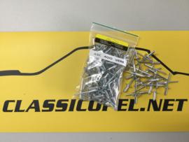 Popnagels, bevestigingsmateriaal t.b.v. verbreding  Opel Ascona 400