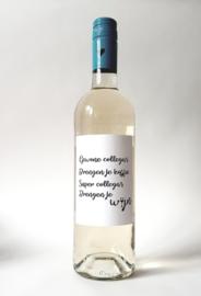 Fles etiket met tekst 'Gewone Collega's'
