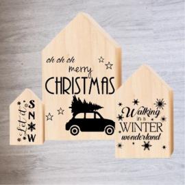 Houten huisjes – kerst winter (set van 3 stuks)