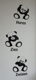 Muursticker  Panda Horen, Zien en Zwijgen