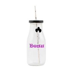 Glazen melk flesje - met naam